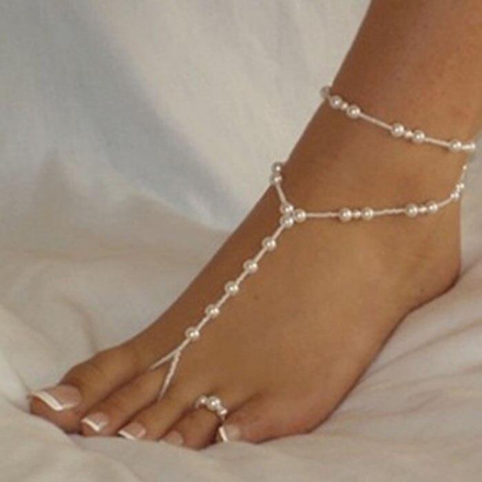 1 Satz Mode Perle Fußkettchen Frauen Ankle Armband Strand Nachahmung Perle Barfuß Sandale Fußkettchen Kette Fuß Schmuck D #