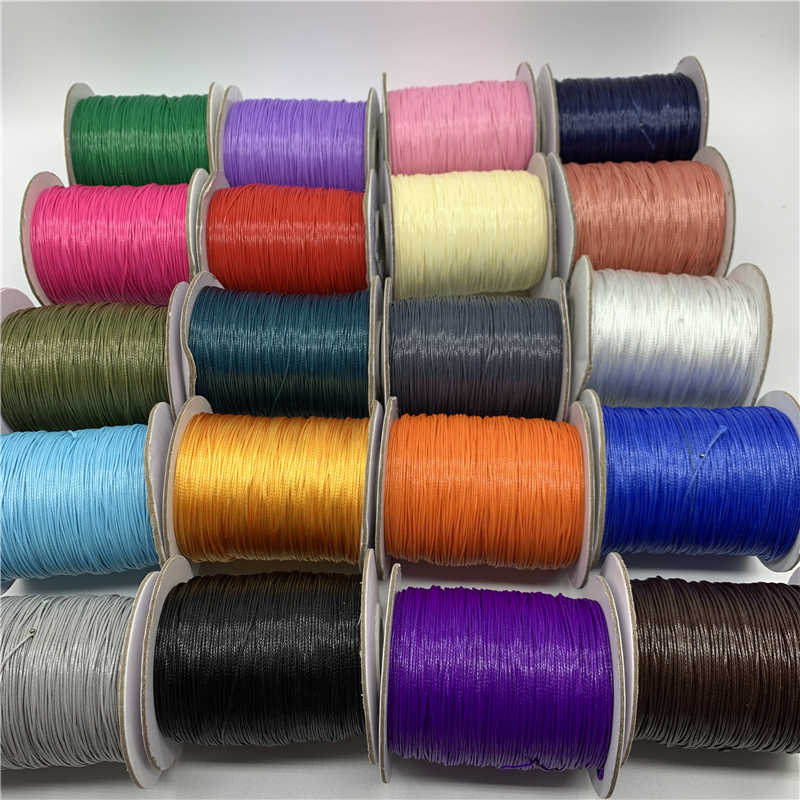 10 jardów 1mm kolorowy woskowany sznurek bawełniany woskowana nić sznurek sznurkowy sznur naszyjnika do wyrobu biżuterii bransoletka Shamballa