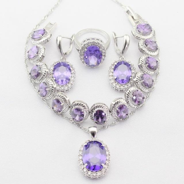 Encantos Collar Colgante Anillos de Color Plata pulsera Púrpura Imitado Amethyst Blanco CZ Sistemas de La Joyería de Regalo de Navidad