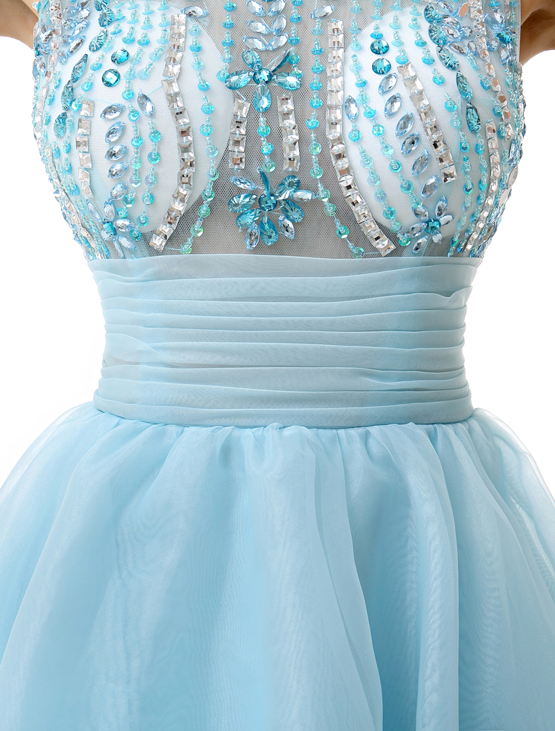 light blue illusion rhinestone short dress