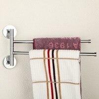 Brass Chrome Polished Double Bars Swivel Holders Towel Bars Rail Rack 3E031503