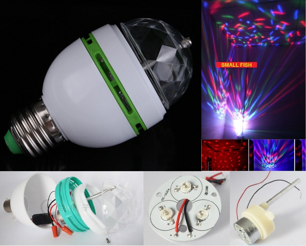 Hot Sale! E27 3W Colorful Auto Rotating RGB LED Bulb Stage Light Party Lamp Disco Moving Head Effect Lights Wireless Spot Lamps