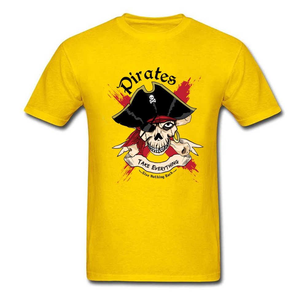 Family PIRATE Normal Short Sleeve T Shirt Lovers Day O-Neck Cotton Fabric Tops T Shirt for Boys T Shirt Casual PIRATE yellow