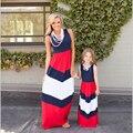 Стильный мать дочь платья семья посмотрите девушка и мать повседневная лето мама и я длинные платья полосатый наряды соответствия