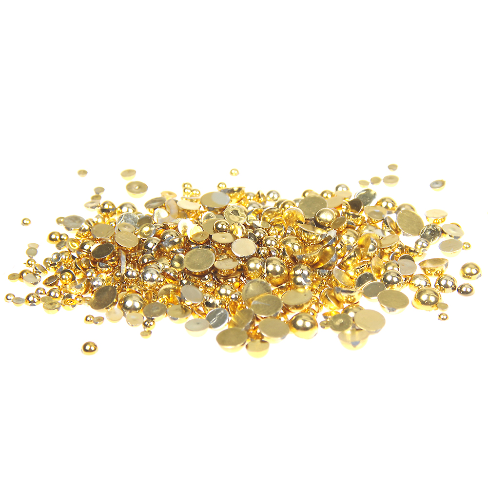 1.5-10mm Gold Half Round Imitation Pearls Crafts Scrapbooking Resin Beads Glitter Glue On Gems DIY Nails Art Phone Case Supplies new matte gold half round pearls 1 5mm 12mm imitation machine cut flatback glue on resin beads diy jewelry making nail art phone