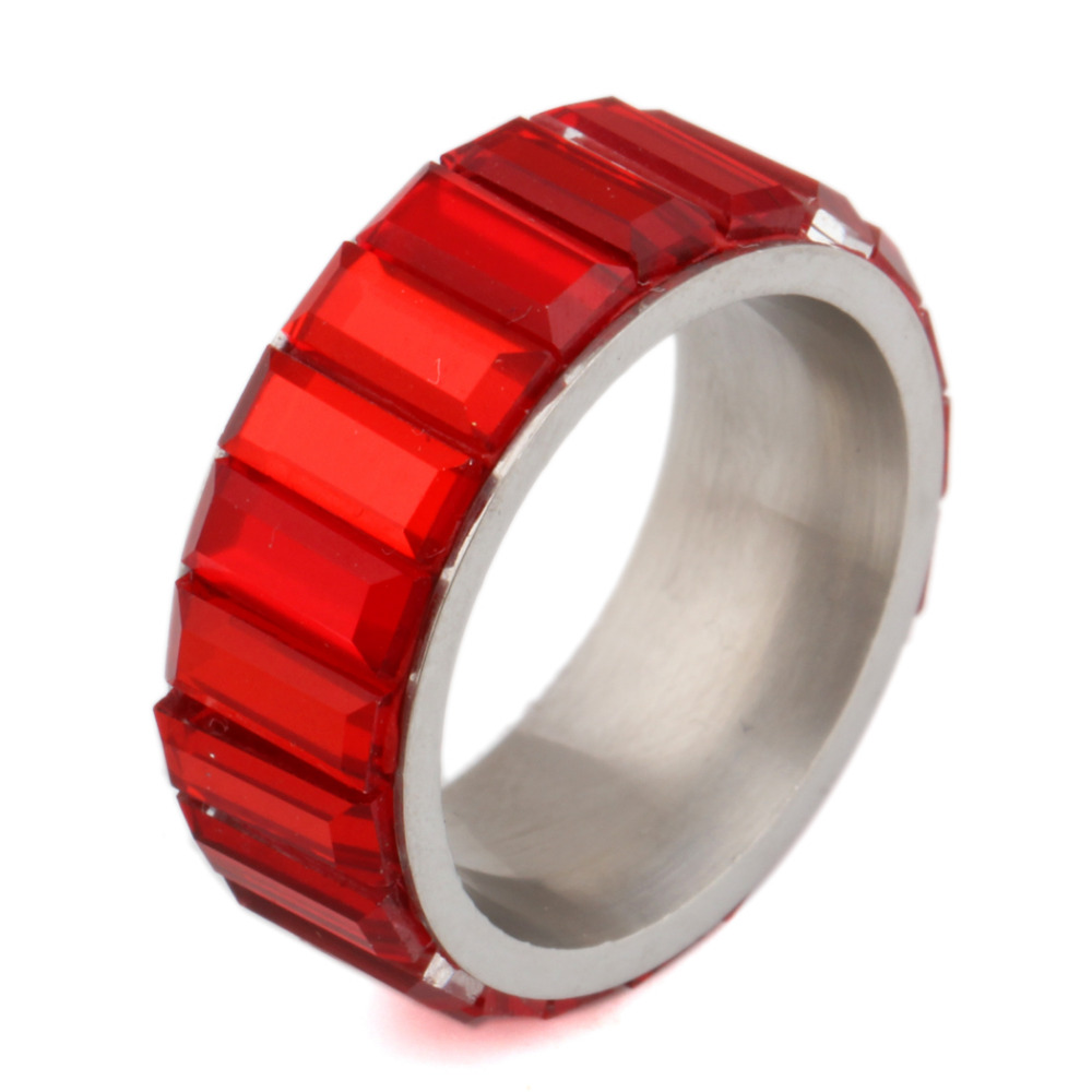 Fashion Rings For Women 4 Colors Glass Stone Stainless Steel Wedding Rings Jewelry
