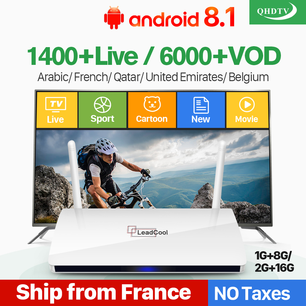 Leadcool IPTV France Box Android français arabe IPTV Rk3229 Leadcool QHDTV abonnement 1 an belgique néerlandais arabe France IPTV
