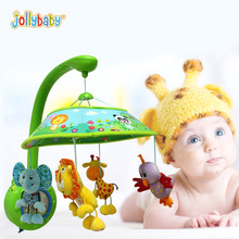 Jollybaby Crib Stroller Baby Rotating Rattle Mobile With Pure Melody Music Box Holder Arm Baby Toy Plush Doll Children Gifts