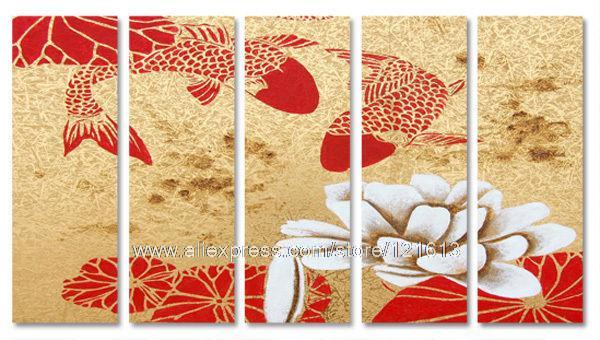 seerosen gold fisch in rot gold moderne wandkunst leinwand ... - Wohnzimmer Rot Gold
