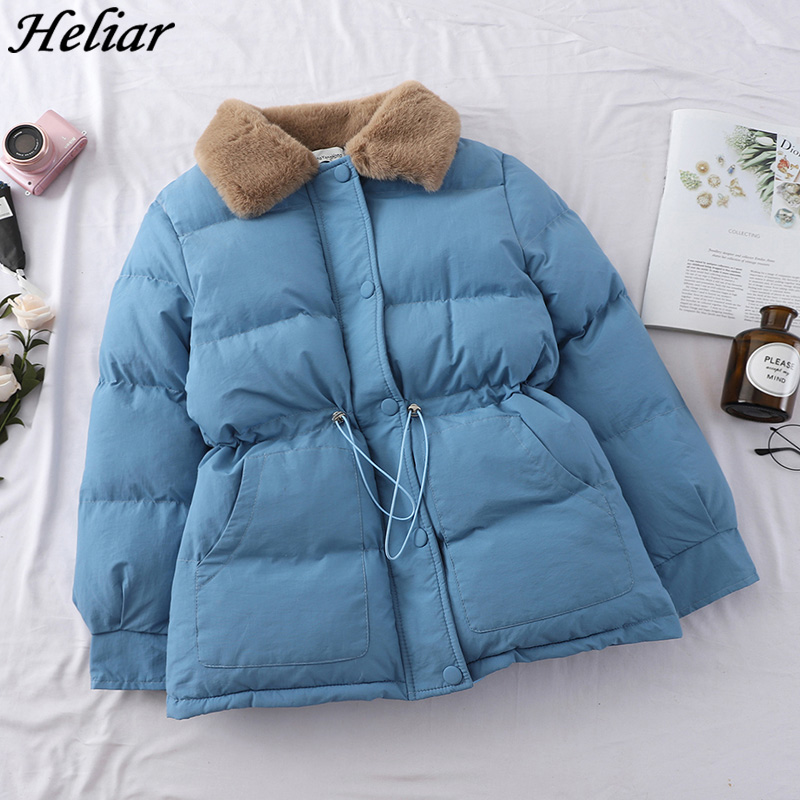 HELIAR Casual Winter Warm Down Cotton Padded Jacket Short Parkas Drawing-rope Receiving Loose Outerwear Thick Short Female Jacke