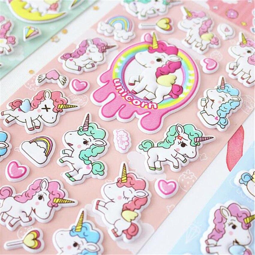 Amazing Unicorn 3D Decorative Washi Stickers Scrapbooking Stick Label Diary Stationery Album Stickers