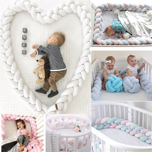2019 New 2M Length Baby Bed Bumper 4 Braids Baby Bed Decor Pure Weaving Plush Knot Crib Bumper Protector Infant Room Decor