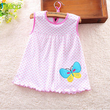 4 Colors Summer Baby Girl Dresses Cotton One Piece Dress Cartoon Striped Kids Clothes Girl Petticoat Robe Fille Enfant BD015