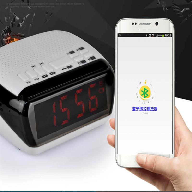 Mini Portable Dual Alarm Clock Bluetooth Stereo Speaker LCD Digital FM Radio Bluetooth Wireless Speaker Support TF For Computer (8)