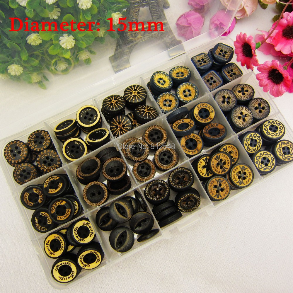 149157 15 style mix 225pcs 15mm wood button wholesale font b Children s b font clothes