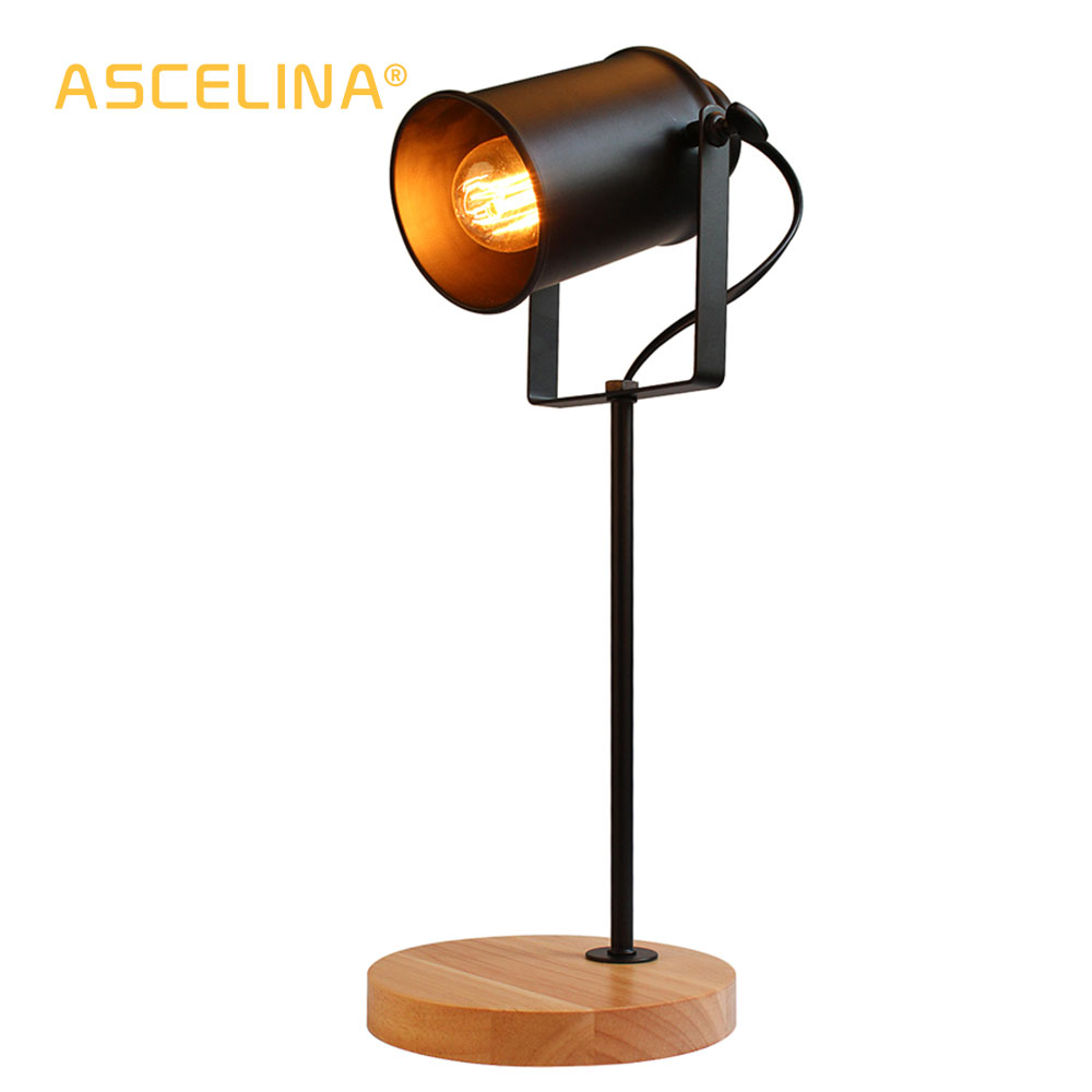 Image 3 - American Table Lamp ASCELINA Vintage Loft Wooden Led Desk Lamp Adjustable Reading Light Office Lamp Home Lighting Decor Stores-in Desk Lamps from Lights & Lighting