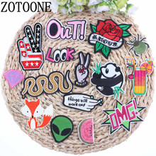 ZOTOONE Alien White Cat Rose Panda Snake Hand Spider Patch Cartoon Iron On Cheap Embroidered Patches For Clothes Anime Badges A(China)