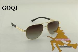 Image 3 - 무료 배송, goqi man 빈티지 금속 프레임 직사각형 편광 선글라스, 60mm 편광 된 운전 남자 uv400 선글라스,