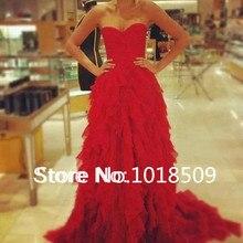 2016 robe de soiree Charming Women Party Dress Long Sweetheart Pleated Tulle Ruffles Court Train Girls Red Prom Dresses BO4850