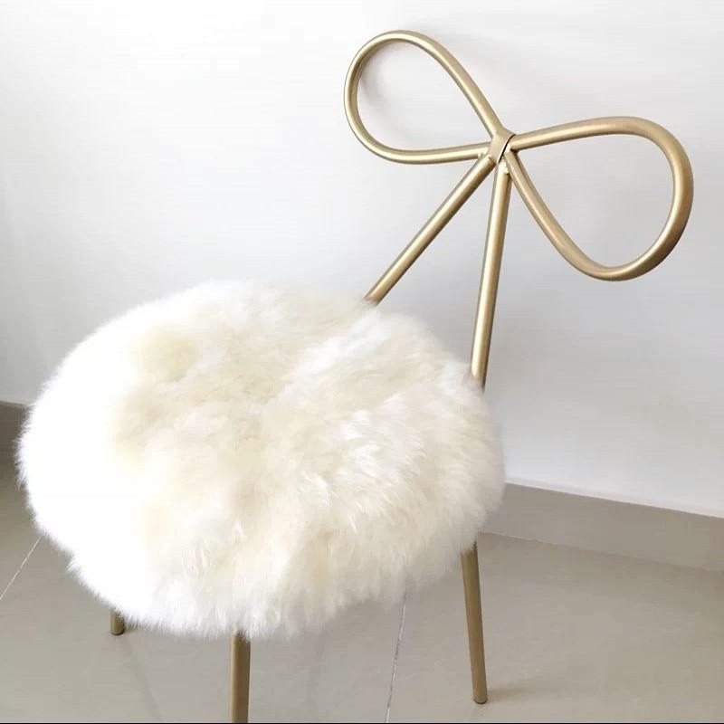 100% Real Sheepskin Round Shaped Cushion , Sheepfur Small Rug 35*35cm  Genuine Natural