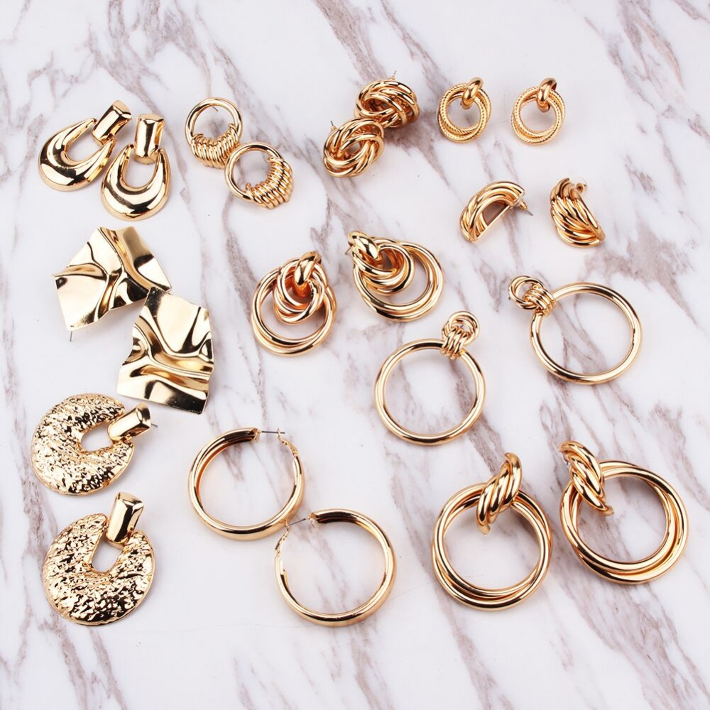 Dvacaman Accessory Jewelry Drop-Earrings Geometric Metal Gold-Color ZA Women Maxi Christmas