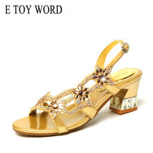 купить E TOY WORD Genuine Leather high heels rhinestone sandals summer women open toe sexy sandals fashion elegant thick women shoes по цене 1649.29 рублей