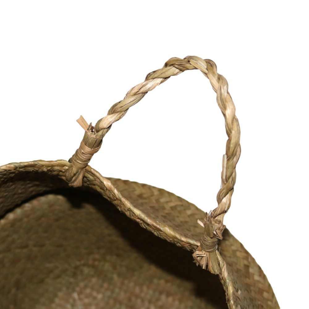 Handgemachte Seegras Lagerung Körbe Faltbare Woven Lagerung Topf Bauch Korb Garten Blumentopf Pflanzen Hängenden Korb 1 Pcs