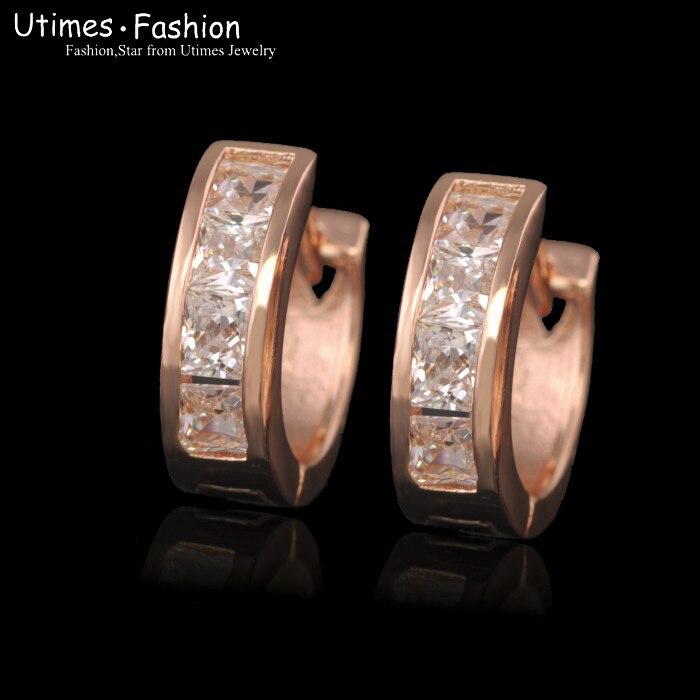 MxGxFam розовое Золотое кольцо серьги женские с цирконом AAA без содержания свинца и никеля - Окраска металла: Покрытие из розового золота