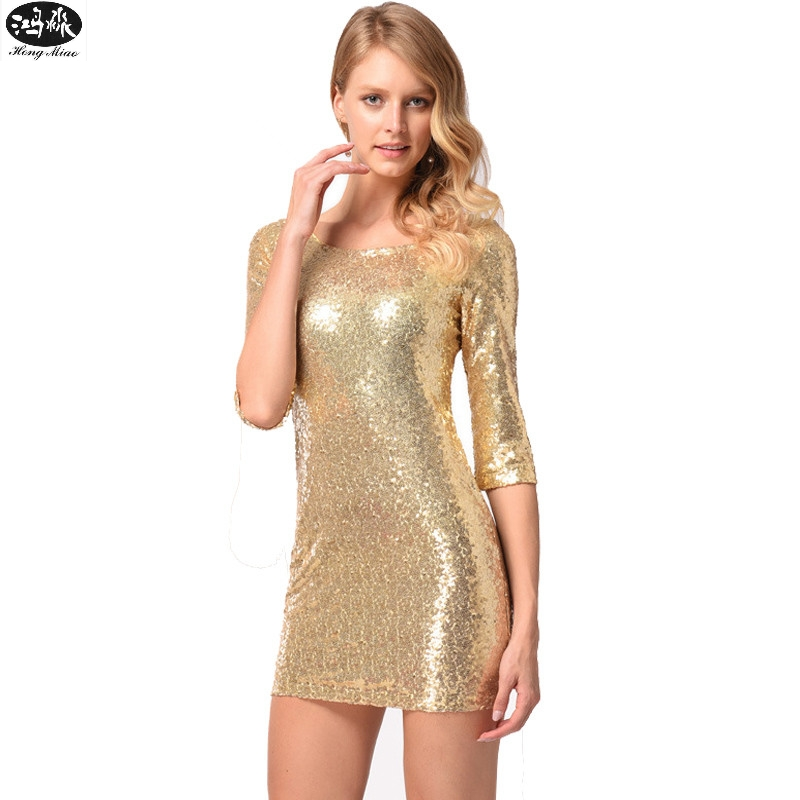 Gold De Sexy Perle Moulante Sequin Mode 2018 Femmes Nouvelles Hongmiao Or Hq Robes Soirée Mini Slim Robe D'été CsrQthd