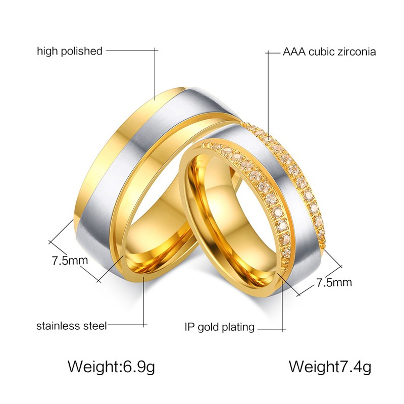 07baf6d91d Meaeguet Gold Color Wedding Engagement Rings Stainless Steel Couple ...