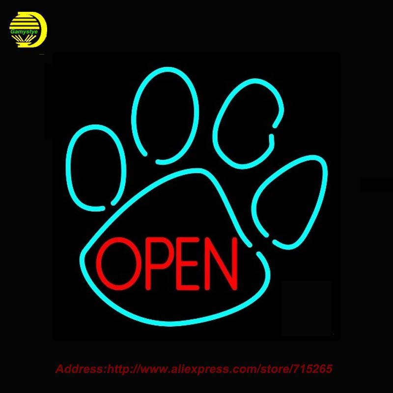 Dog Open Logo Neon SIGN Neon Bulb Recreation Bar Glass Tube Handcraft Advertise Affiche Neon Window Light Lighted Lamp 24x24