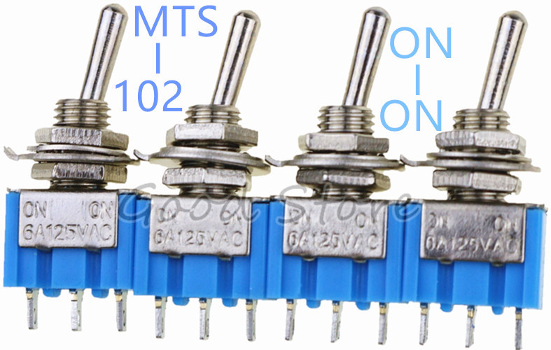 10Pcs Toggle Switch MTS-102 3Pin Mini Spdt On-On 5A 125Vac Red Color ze