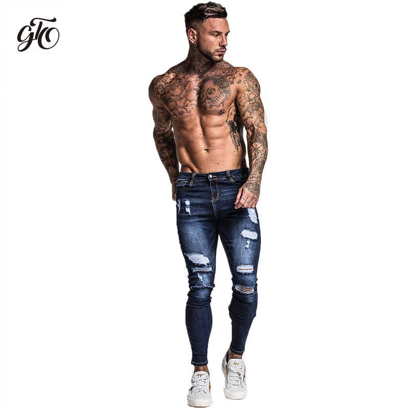 Gingtto męskie spodnie Skinny Stretch naprawione jeansy ciemnoniebieskie hip-hopowe w trudnej sytuacji bardzo obcisłe, dopasowane bawełniane wygodne duże rozmiary zm34