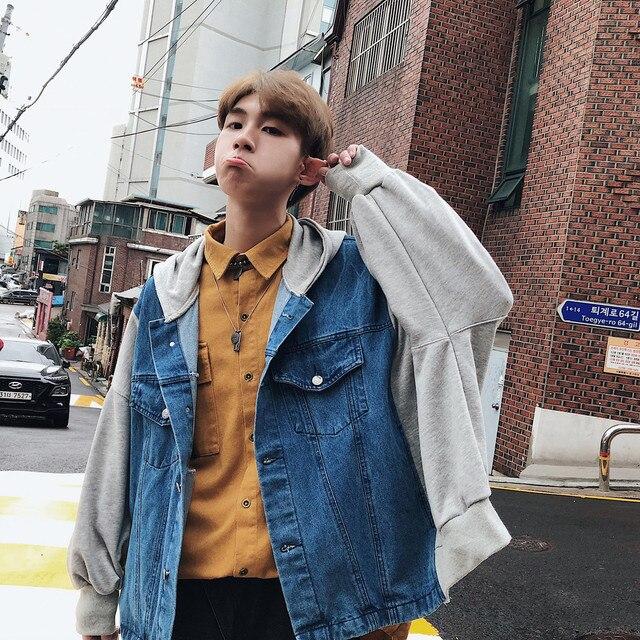 Men S Fashion Denim Jackets High Street 2018 Korean Autumn Newest