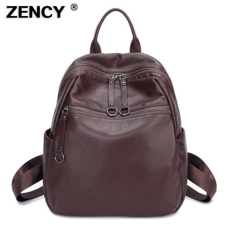 ZENCY 100% Soft Natural Italian Genuine Leather Shoulder Women Backpack Ladies Coffee Black Cowhide Bag School Style Backpacks pabojoe women mens school backpack italian 100