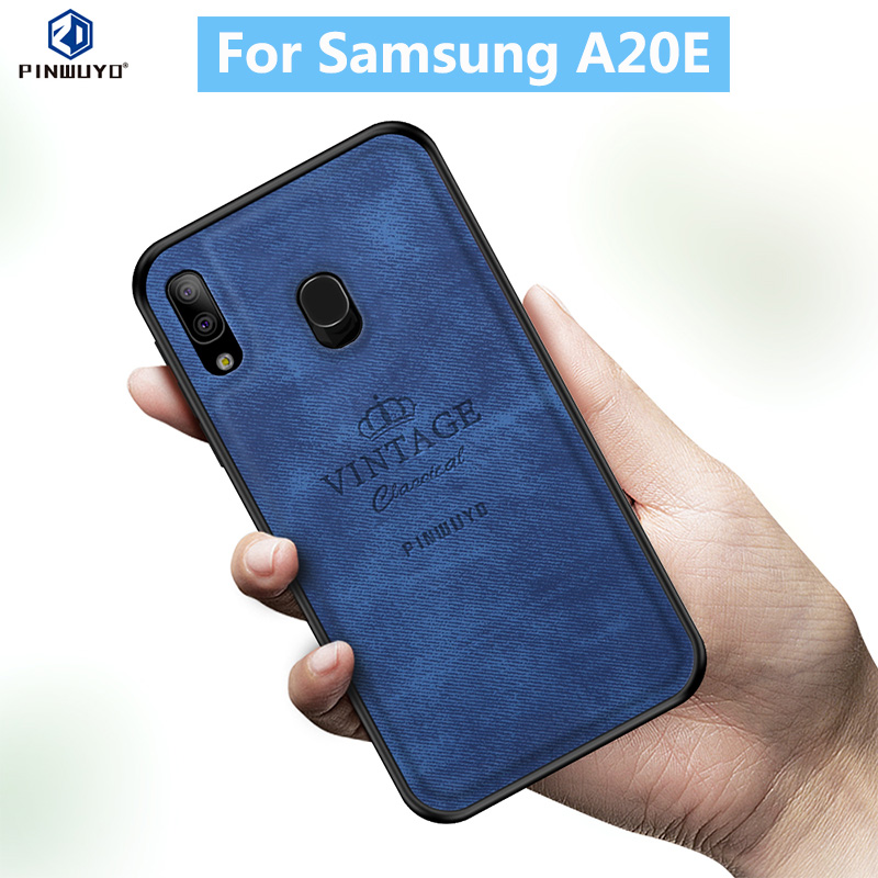For Samsung A20E Original PINWUYO VINTAGE PU Leather Protective Phone Case for Galaxy Shockproof