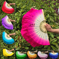 New Kids Child size real silk belly dance fans veils Bamboo hand-made dyed Fans Stage Props silk Fans 1pair=2pcs 10 colors