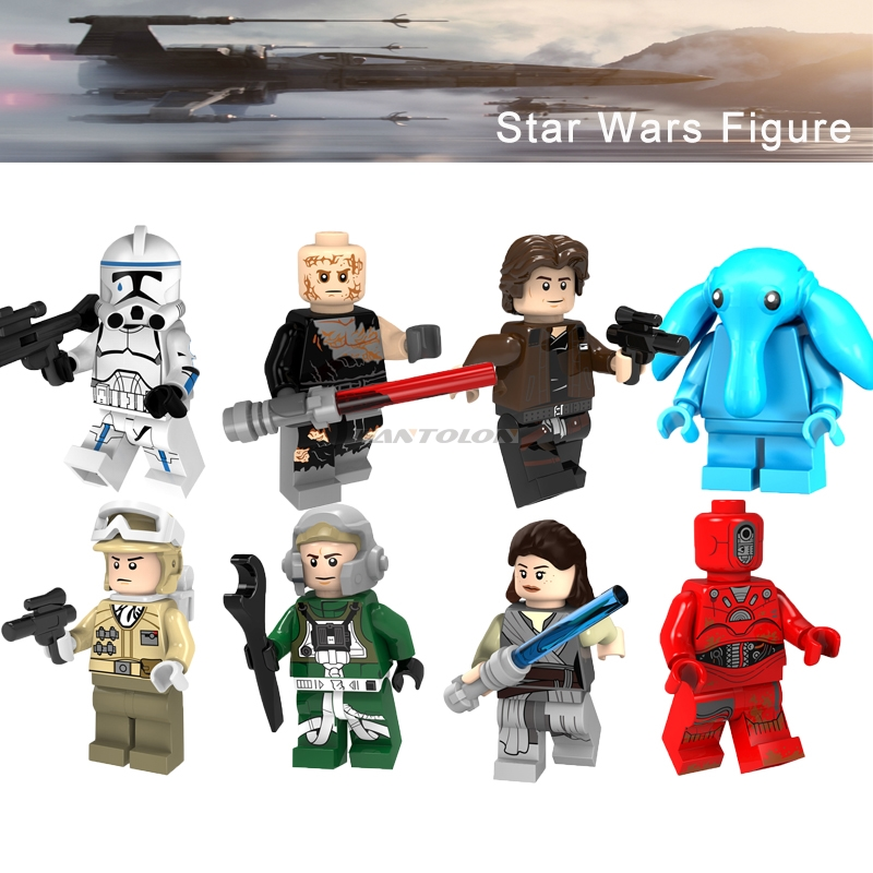 Legoing Star Wars Rey Han Solo Stormtrooper Hoth Rebel Max Rebo Anakin A Wing Pilot Starwars Building Brick Pg8145