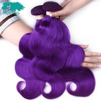 Allrun Peruvian Body Wave Hair Extensions 3 Bundles Double Weft Purple Color Human Hair Weave Bundles 10 24 Non Remy Hair