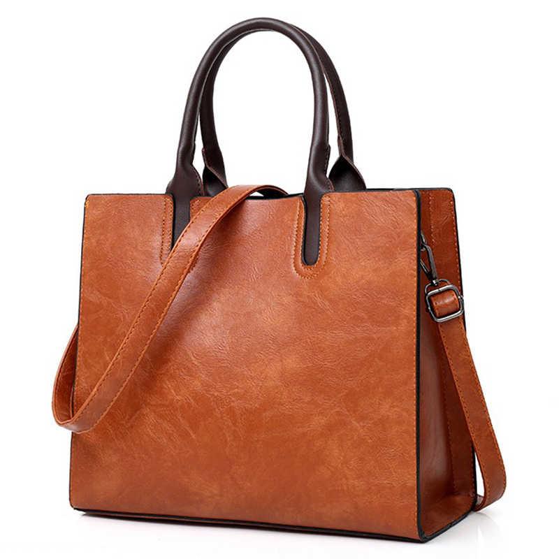 0debdbaf Модные женские туфли сумочки большой вместимости для женщин сумки из  воловьей кожи квадратный Tote 2019 сумка