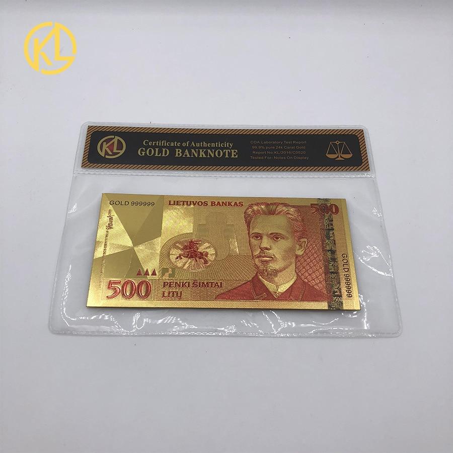 Plástico 24k Ouro Folha de Nota de Banco de Moeda República Da Lituânia 500 Lita Cor do Ouro Banknote Com COA Quadro para Coleção