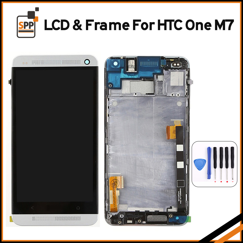100% Original LCD for HTC One M7 LCD Display Touch Screen Digitizer Glass Assembly With Frame Black Silver Gold Blue Red+tools top quality lcd screen display touch digitizer assembly with frame for htc one m9 phone repair parts white gold black