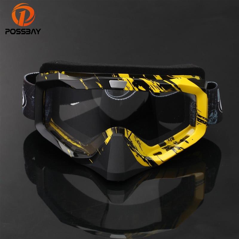 POSSBAY Multi-Color Dustproof Lens Skiing Goggle UV- Protection Eyewear Snowboard Glasses Men Woman Racing Off Road Motocross