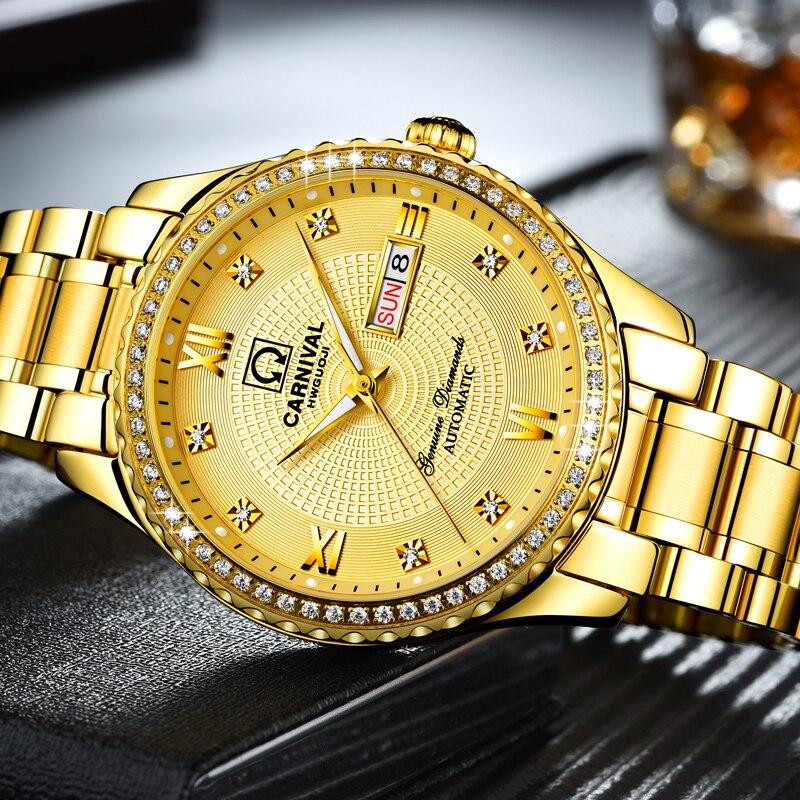 Hombres reloj superior de la marca de lujo de reloj de oro semana fecha luminoso impermeable reloj Ceasuri reloj de pulsera de hombres Hodinky reloj-in Relojes mecánicos from Relojes de pulsera    2