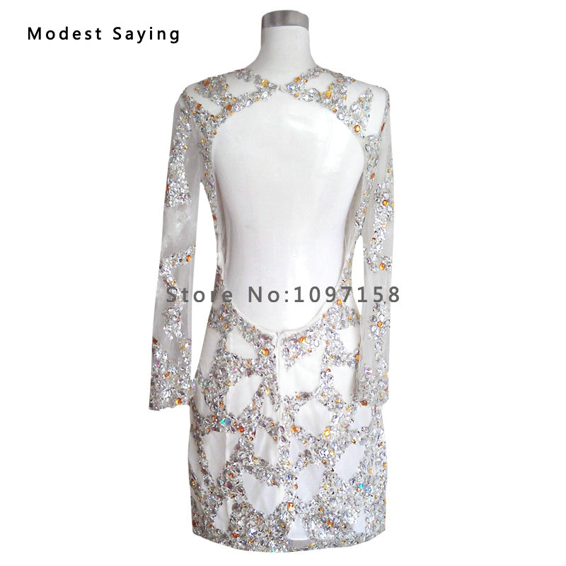 Weddings & Events Real Silver Luxury Straight Beaded Short Cocktail Dresses 2017 Mini Women Long Sleeves Party Prom Gowns Robe Sur Mesure Yc24