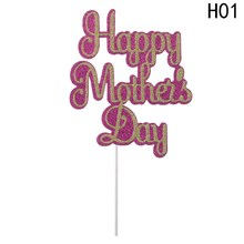 Celebration Party Supplier Cupcake Picks Sticks for Mom Mother`s Birthday Happy Mother`s Day Cake Topper(China)