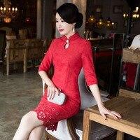 Nueva Llegada de La Manera Corta de Gamuza Mujeres Cheongsam Chino de Las Señoras elegante Qipao Novedad Sexy Vestido de Tamaño Ml XL XXL 3XLF103027