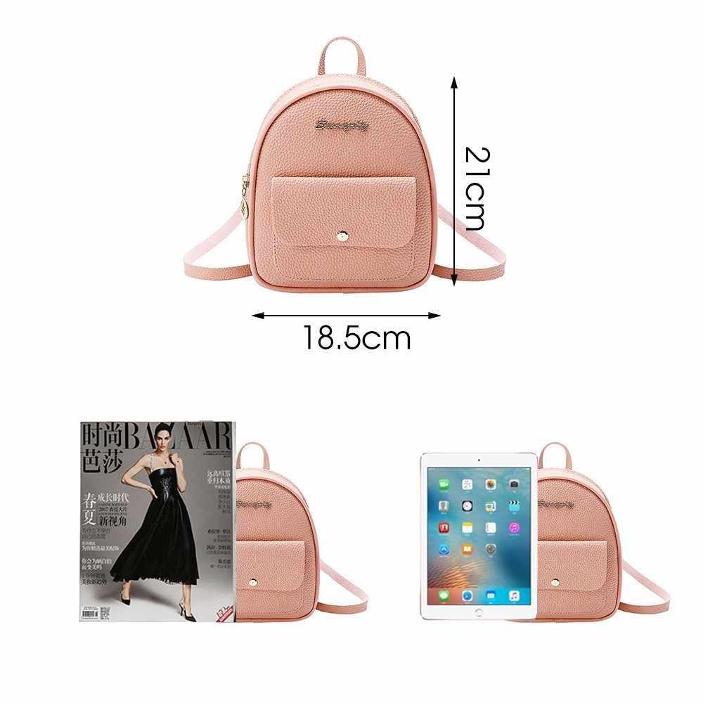 Herald Fashion Kualitas Kecil Wanita Ransel Kulit Tas Bahu untuk Remaja Gadis Multi-Fungsi Mini Bagpack Wanita Tas Telepon
