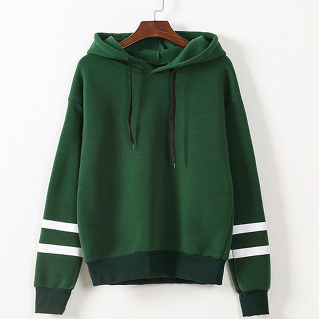 Hooded Autumn Pullovers Women Long Sleeve Loose Sweatshirts 2017 Plus Size Striped Patchwork Winter Hoodies Black Green Jumpers