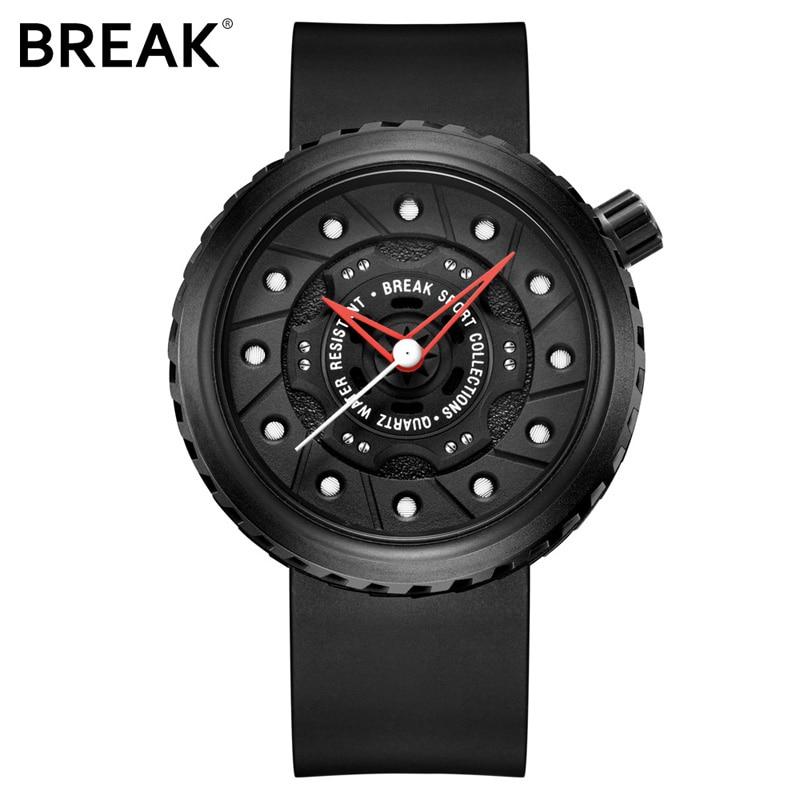 BREAK Men Quartz Sport Watches Man Casual Fashion Rubber Leather Strap Top Luxury Brand Waterproof Geek Unique Gift Wristwatch 5